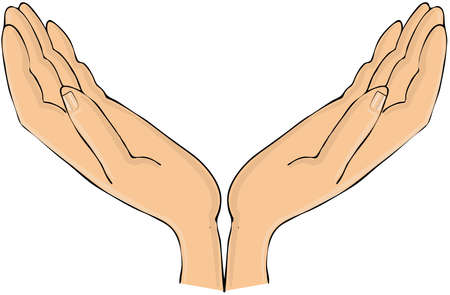 This illustration depicts a pair of human hands open palmed facing up. illustration