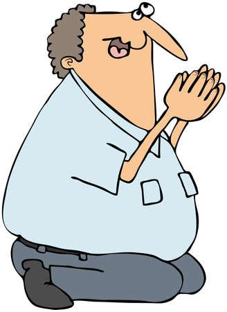 Deze illustratie toont een man op zijn knieën bidden.