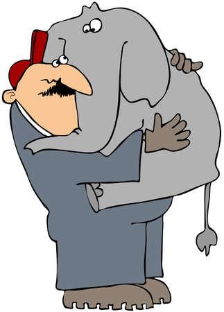 elefante cartoon: Esta ilustraci�n muestra a un hombre llevando un elefante de beb�.