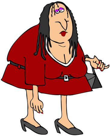 This illustration depicts a chubby girl with greasy hair.