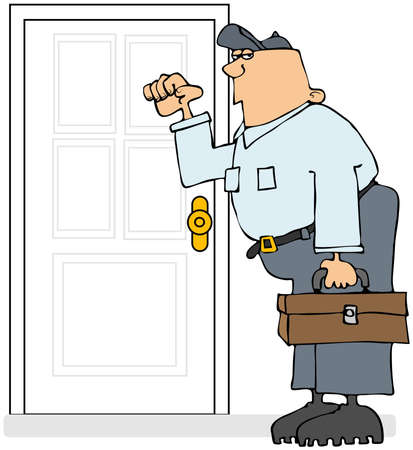 knocking: This illustration depicts a serviceman knocking on a door and carrying his toolbox.This illustration depicts a serviceman knocking on a door and carrying his toolbox.