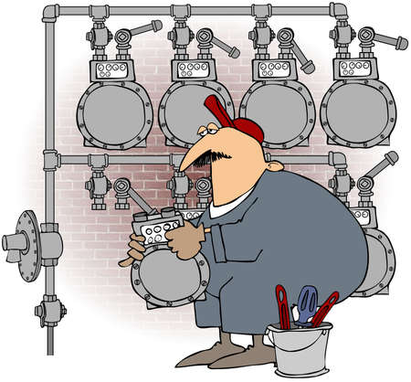 gas meter: This illustration depicts a worker changing a gas meter on a multiple header set. Stock Photo