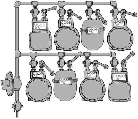 gas meter: Gas Meter Header Stock Photo