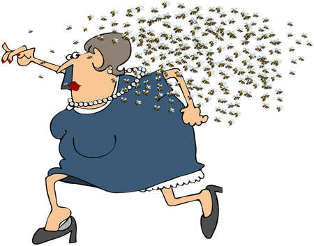 Vrouw Running From A Swarm Of Bees  Stockfoto