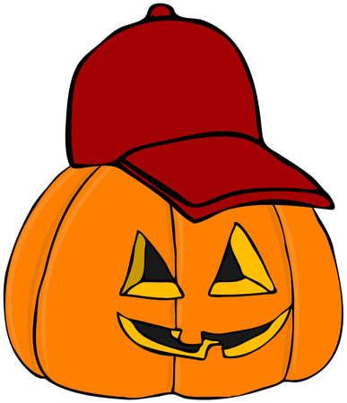 Pumpkin Wearing A Baseball Cap