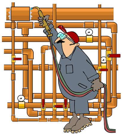 solder: Plumber Sweating Copper Pipe