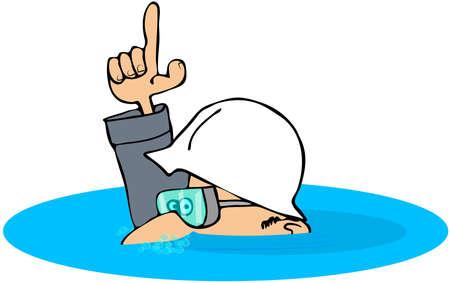 Construction Man Under Water Stock Photo