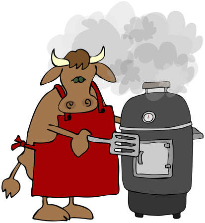 Cow Cooking On A Smoker Grill Stock Photo