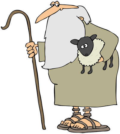 Shepherd Holding A Lamb photo