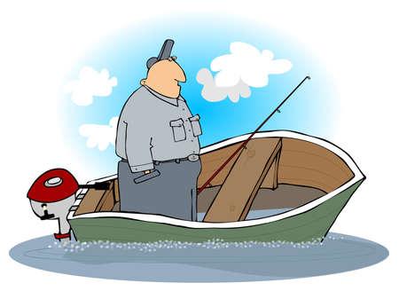 sinking: Man In A Sinking Motorboat