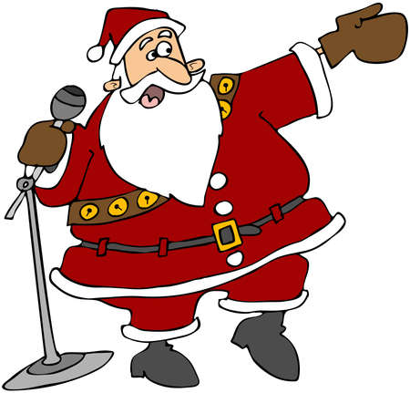 Santa With A Microphone Stockfoto