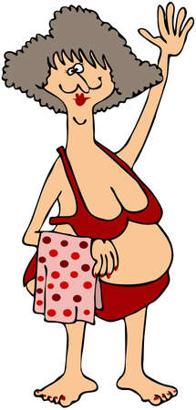 Chubby Woman In A Red Bikini