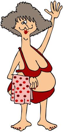 Mollige vrouw in een rode Bikini Stockfoto