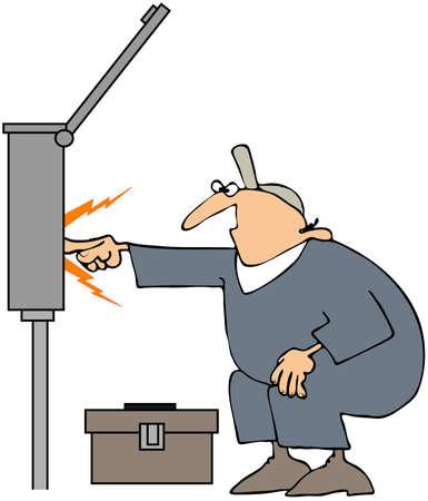 breaker: Electrician Sparks Stock Photo