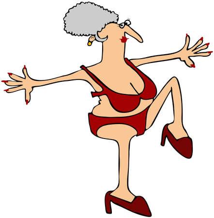 tanzen cartoon: Hohe Stepping Oma