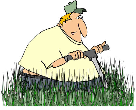 push mower: Man Mowing Tall Grass Stock Photo