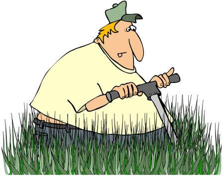 Man Mowing Tall Grass photo
