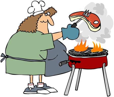 Woman A Steak grillen Standard-Bild - 10550468