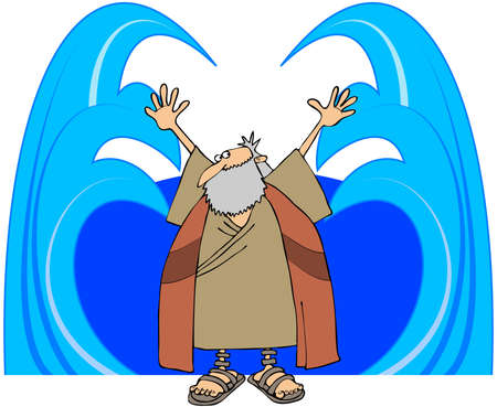 biblical: Moses Parting The Waters Stock Photo
