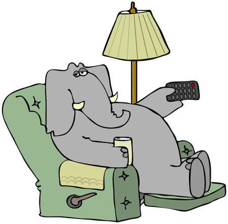 pachyderm: Elephant In A Chair With A Remote