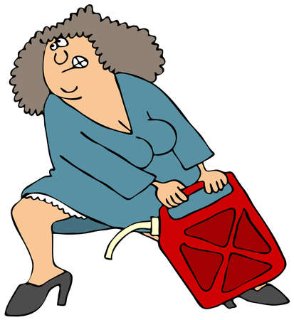 straining: Woman Pulling A Heavy Gas Can Stock Photo