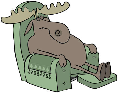 recliner: Sleeping Moose In A Chair Stock Photo