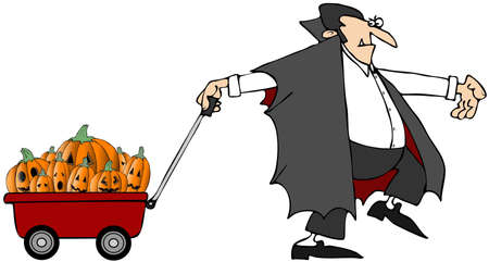 Vampire Pulling Pumpkins Stock Photo - 11030298