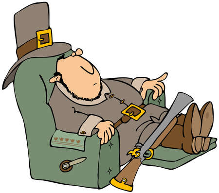 recliner: Tired Pilgrim In A Recliner Stock Photo