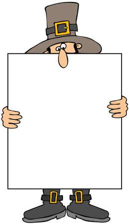 pilgrim: Pilgrim Holding A Blank Sign Stock Photo