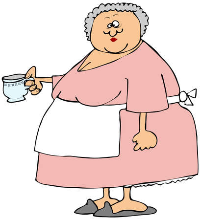 Old woman holding a cup of tea photo