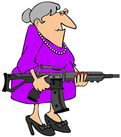 woman with gun: Grandma with an assault rifle