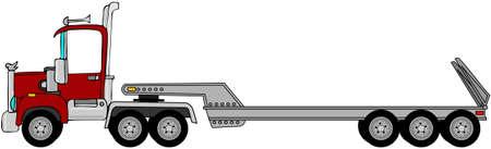 semi: Truck & lowboy trailer Stock Photo