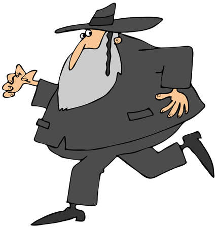 hasidic: Running Rabbi Stock Photo