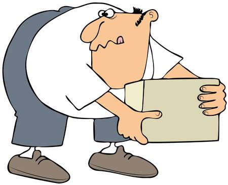 square shape: Man picking up a box