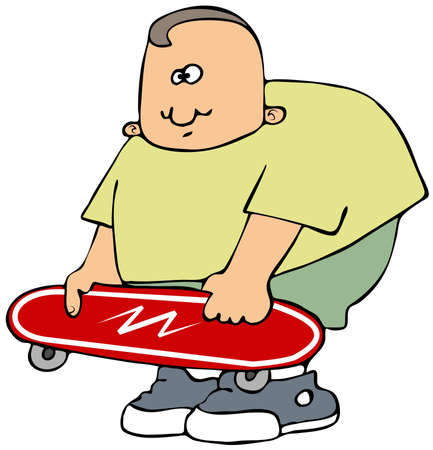 Boy with a red skateboard Stock fotó