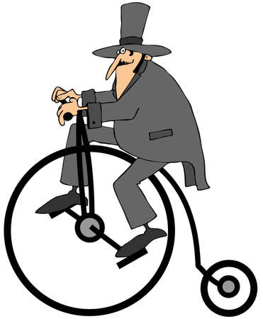 pedaling: Man riding an old fashion bicycle Stock Photo