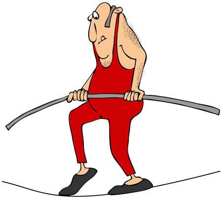 tightrope: Man walking a tightrope