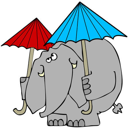 cartoon umbrella: Elephant with 2 umbrellas Stock Photo