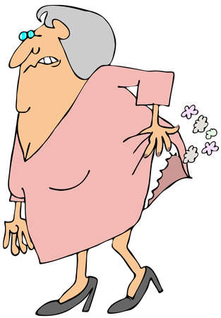 fart: Old woman passing gas