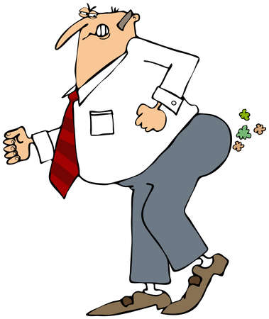 flatulence: Businessman breaking wind