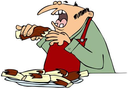 barbecue ribs: Hombre comiendo costillas a la barbacoa
