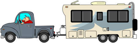 rv: Truck and trailer Stock Photo