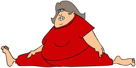 cartoon yoga: Chubby woman doing the splits