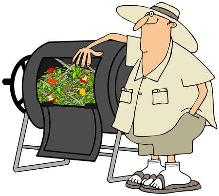 Man met zijn compostvat