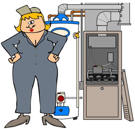 Female HVAC technician Stock Photo