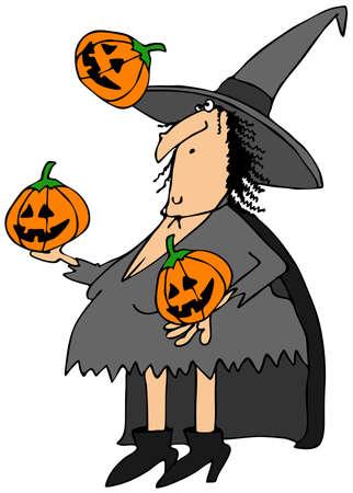Witch Jonglieren Kürbisse Standard-Bild - 38425375