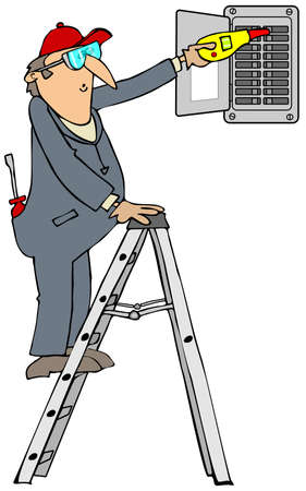 ladders: Electrician checking breakers Stock Photo
