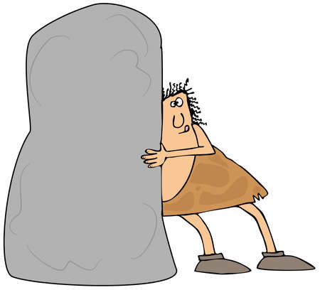 shove: Caveman pushing a large boulder