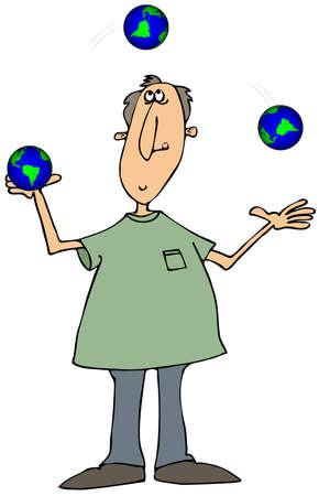 entertainer: Man juggling globes Stock Photo