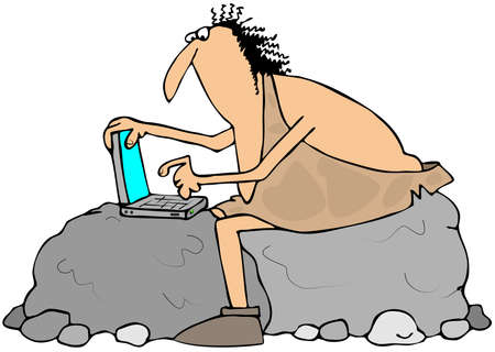 data entry: Caveman using a laptop computer Stock Photo